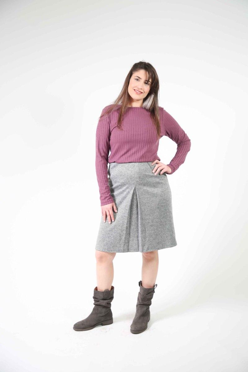 חצאית כפל אפור בהיר