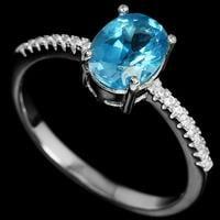 טבעת כסף משובצת טופז כחול וזרקונים RG5521 | תכשיטי כסף 925 | טבעות כסף