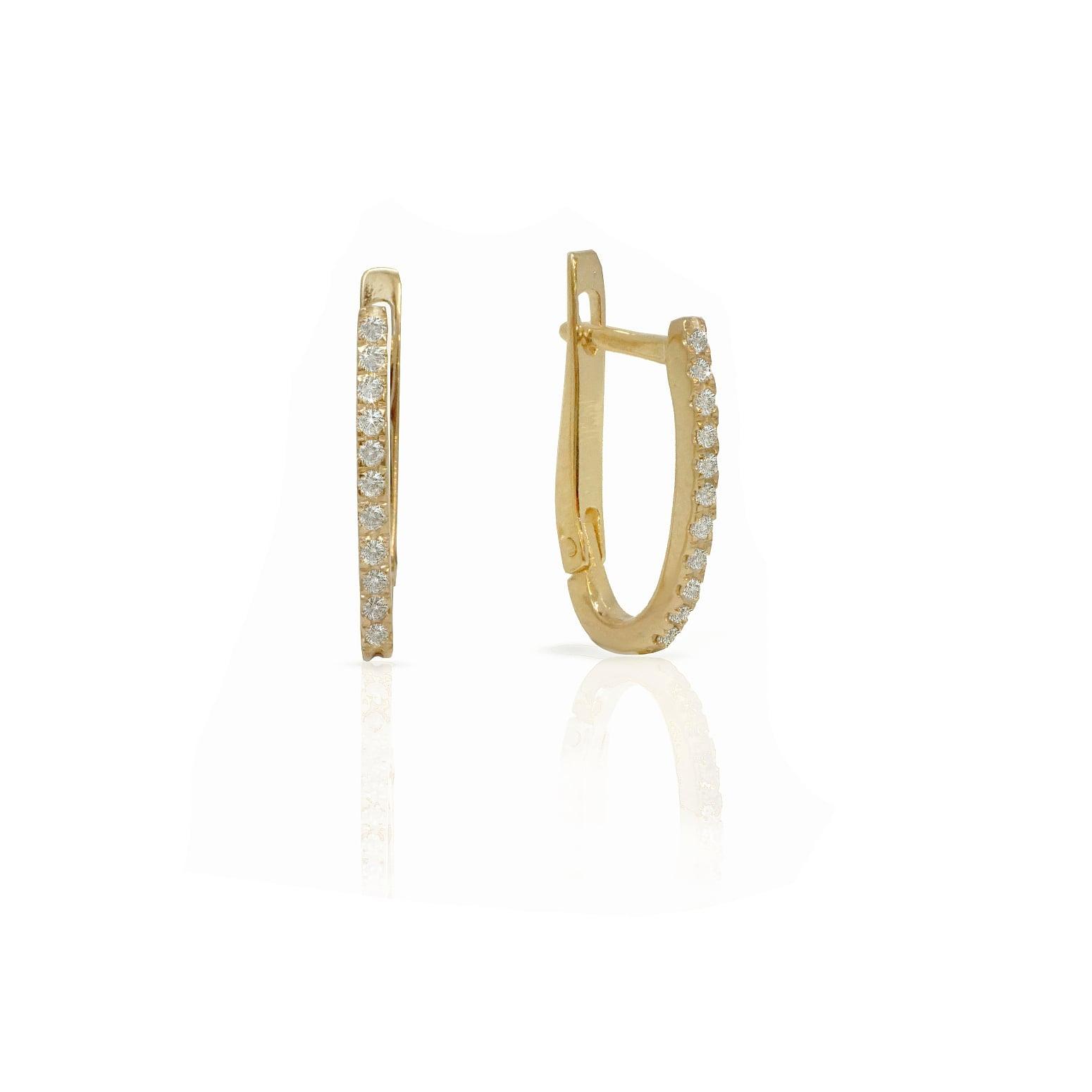 עגילי חצי חישוק משובצים יהלומים| עגילי חישוק יהלומים | עגילי בננה משובצים ביהלומים