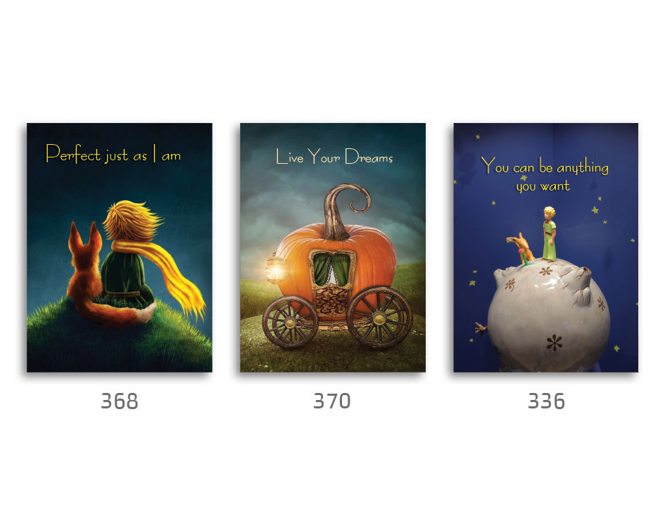 סט של 3 תמונות השראה מעוצבות לתינוקות, לסלון, חדר שינה, מטבח, ילדים - תמונות השראה הנסיך הקטן