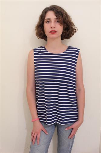 חולצת בוקסי פסים כחול לבן