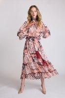 שמלת שיפון  שילוב חגורה פרנזים