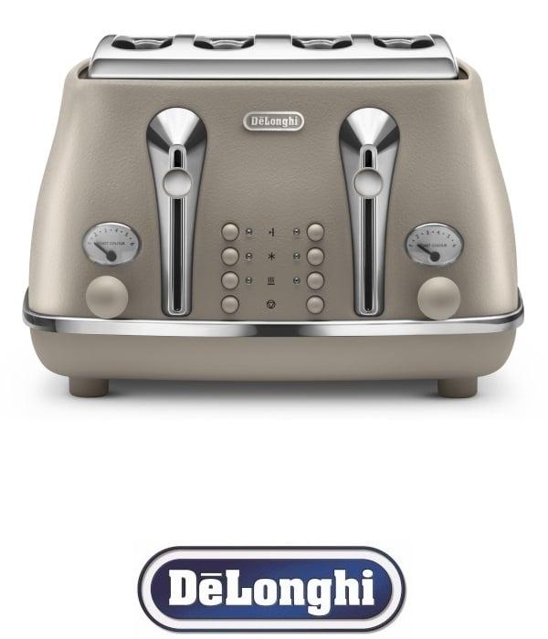 DeLonghi מצנם רטרו 4 פרוסות ICONA דגם CTOE4003.BG קרם