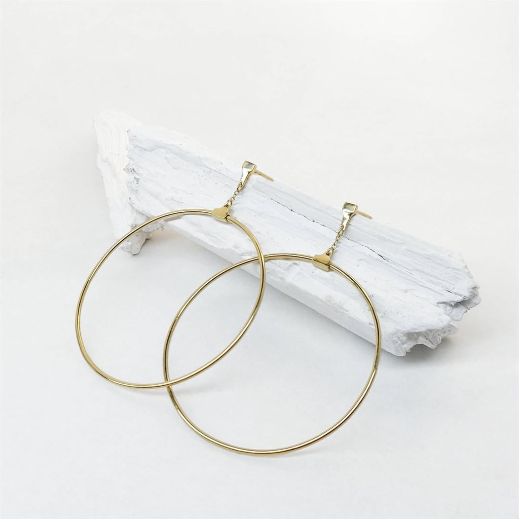 עגילי Swinging Hoop זהב 14K
