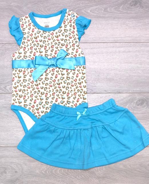 בגד גוף עם חצאית כחול מנומר