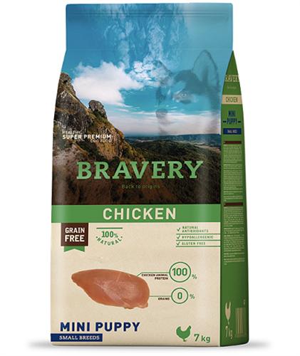 """אוכל לגורים מגזע קטן Bravery ללא דגנים 7 ק""""ג"""