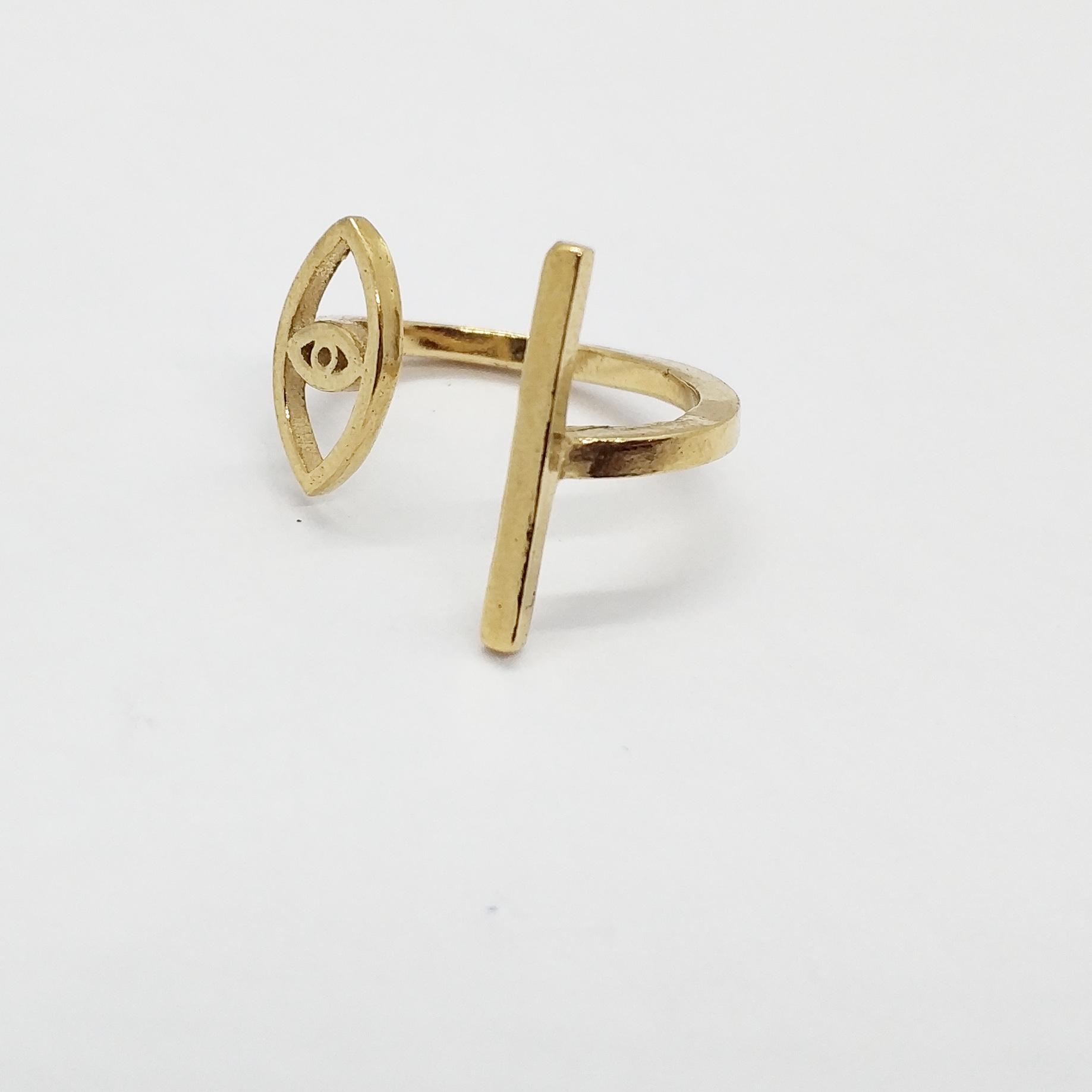 טבעת עין פס זהב