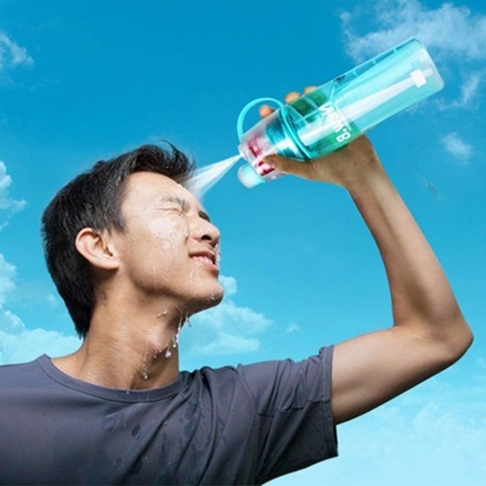 בקבוק ספורט לשתיה עם לחצן ספריי לרענון-  Refresh Spray Bottle