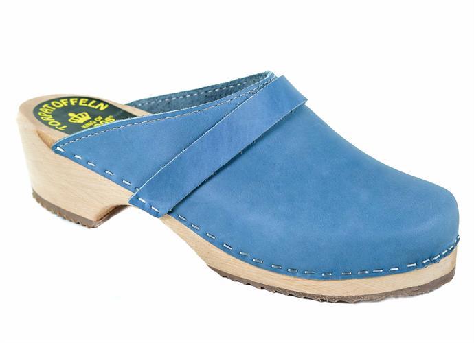קבקבי עץ כחול-תכלת ג'ינס מט