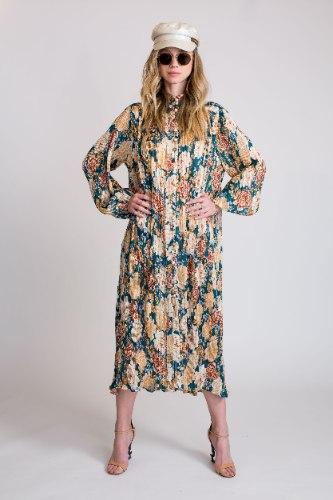 שמלת פליסה פרחים ירוק