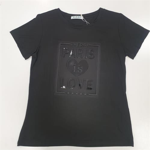 חולצת נשים הדפס הבלטה  LOVE PARIS שחור