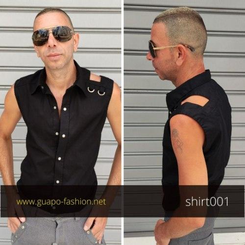חולצה אלגנטית מכופתרת בלי שרוולים לגברים - שחור או לבן
