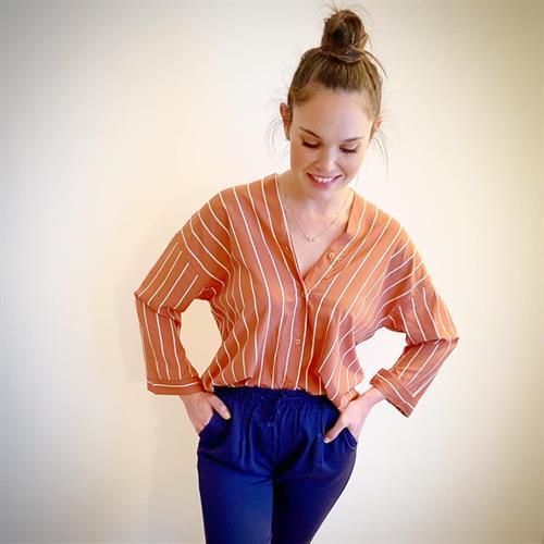 חולצת פיס צווארון - אפרסק