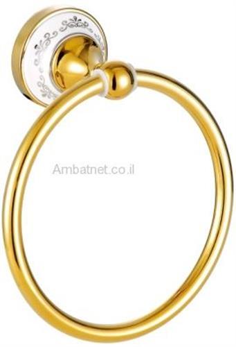 טבעת למגבת דגם D מוזהב מבריק