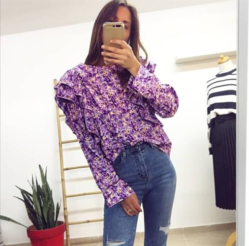 חולצת פרח וולאן - סגולה