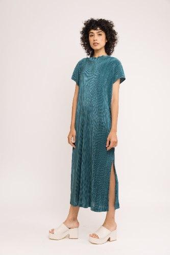 שמלת NAM - פליסה ירוק עמוק