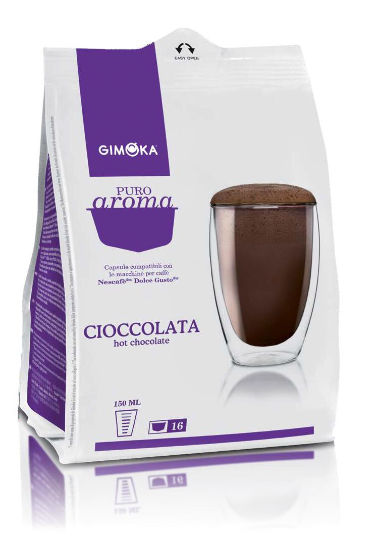 16 קפסולות איטלקיות תואמות דולצה גוסטו Gimoka Cioccolata Dolce Gusto