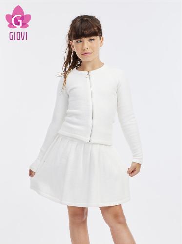 חצאית סריג פליסה(לבן)