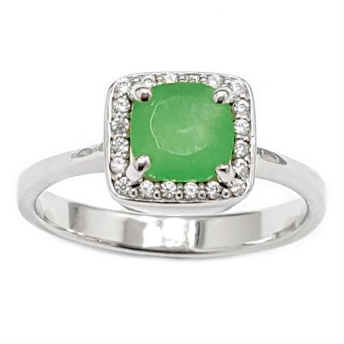 טבעת כסף משובצת אבן אגת צבע ירוק וזרקונים RG1561 | תכשיטי כסף 925 | טבעות כסף
