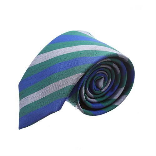 עניבה פסים כחול ירוק משולב