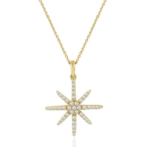 תליון שמש ושרשרת זהב צהוב 14 קראט משובץ יהלומים
