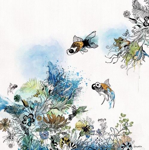 ציור של דגים צבעי מים כחול
