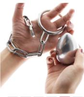 כדור נירוסטה פלאג לישבן כולל חיבור לביצים טבעת 4סמ