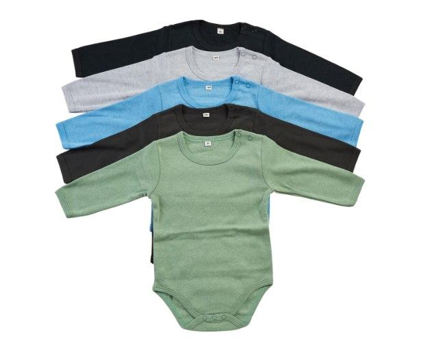 מארז 5 בגדי גוף שחור-אפור מלאנג'-תכלת-ירוק