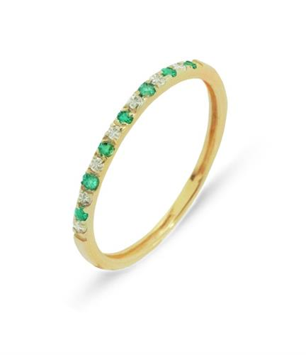 טבעת מידי טבעת משובצת יהלומים ואמרלד