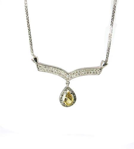 שרשרת זהב לבן 14 קרט משובץ סיטרין ויהלומים 0.50 קראט