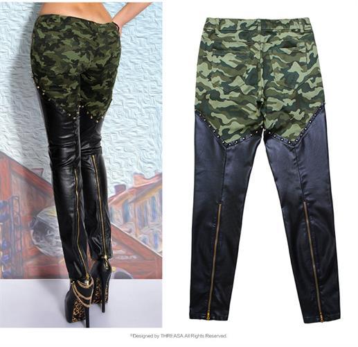 מכנסי Camouflage סקסיים דמוי עור