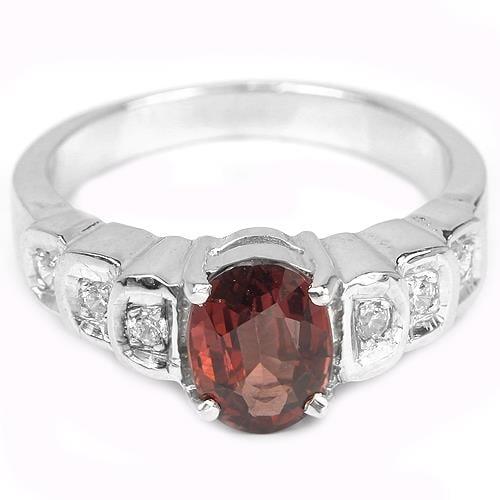 טבעת כסף משובצת גרנט אדום RG4089 | תכשיטי כסף 925