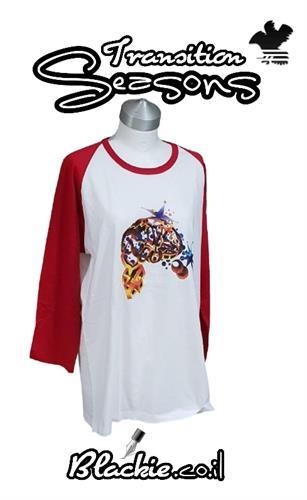 חולצה אמריקאית צבע אדום הדפס גראפי שיוט