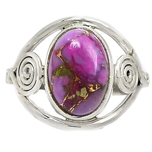 טבעת כסף משובצת אבן טורקיז סגולה RG9657 | תכשיטי כסף 925