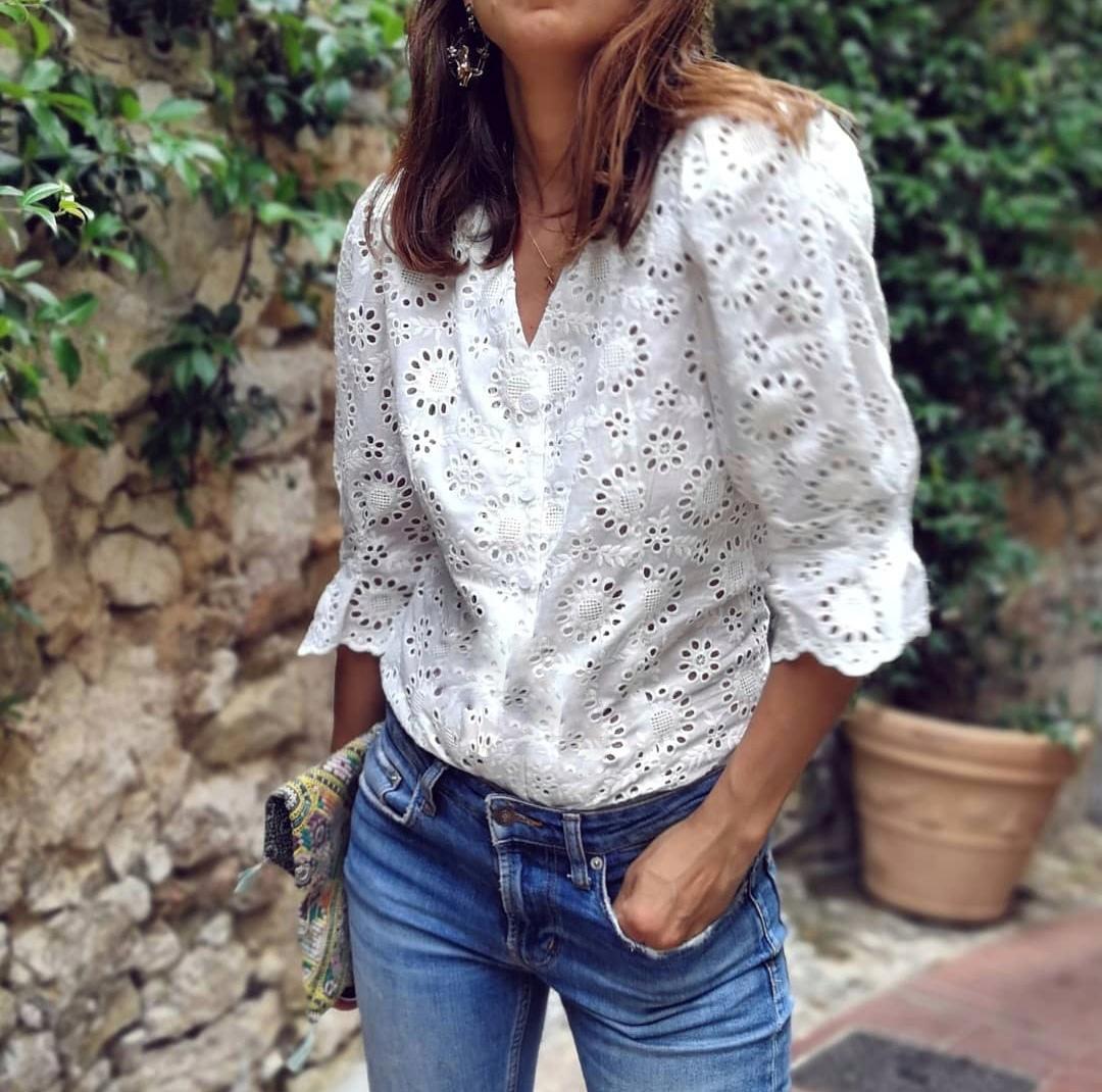חולצת תחרה פריזאית - לבנה
