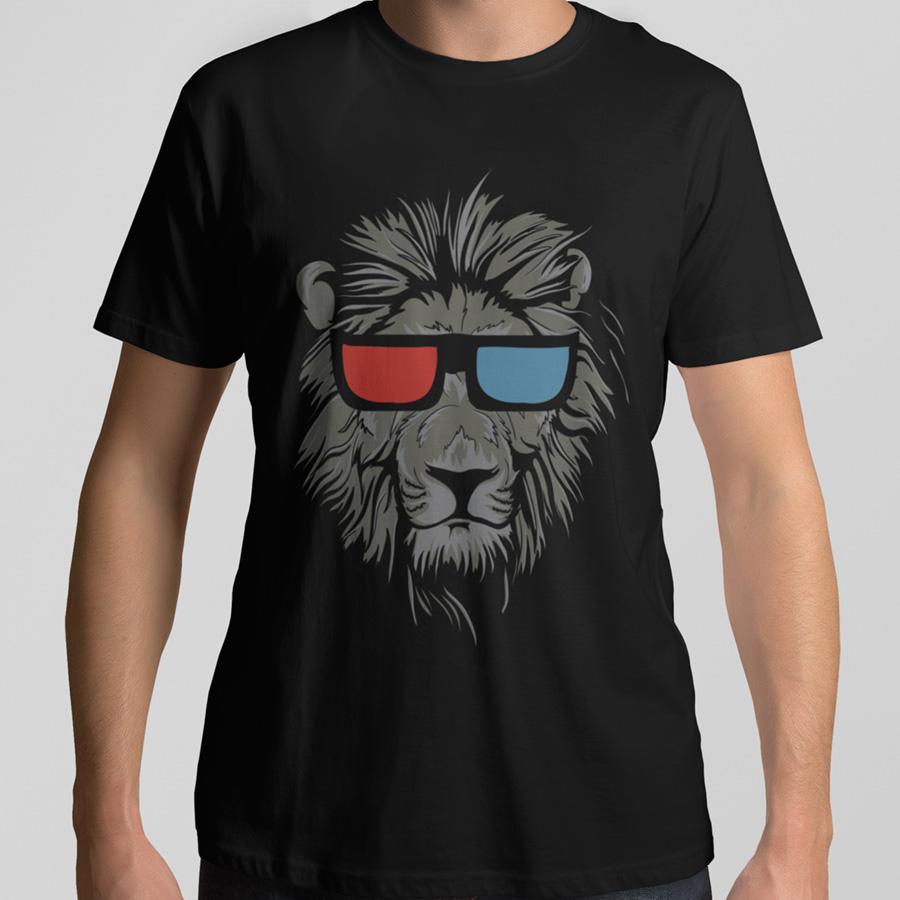 חולצת טי עם הדפס אריה