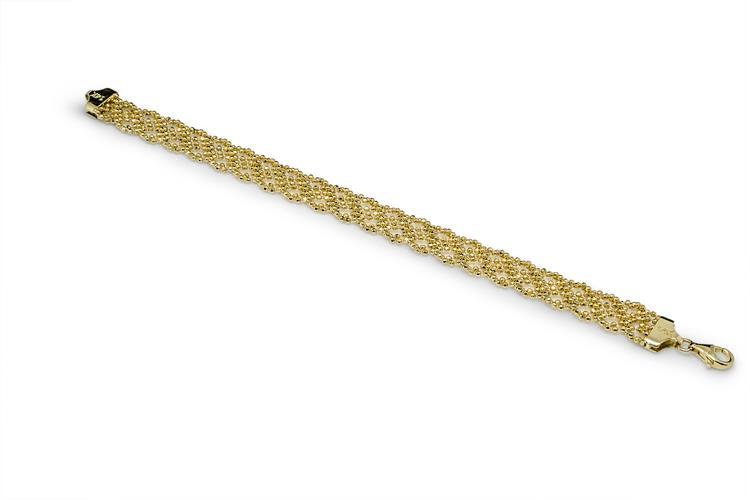 צמיד זהב סרוג לאישה זהב 14 קראט | צמיד זהב | צמיד תחרה | צמיד יד לאישה | צמידי זהב לנשים