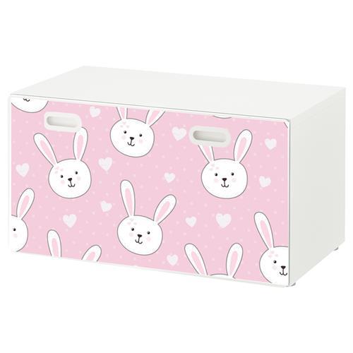 טפט דביק מותאם לספסל אחסון לצעצועים (STUVA)- ארנבים ורודים