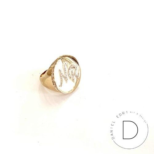 טבעת חותם- שיבוץ מסביב לטבעת
