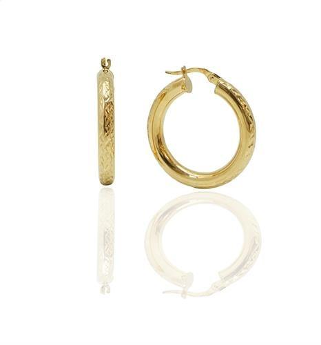 עגילי חישוק זהב עבים בינוניים מרוקעים