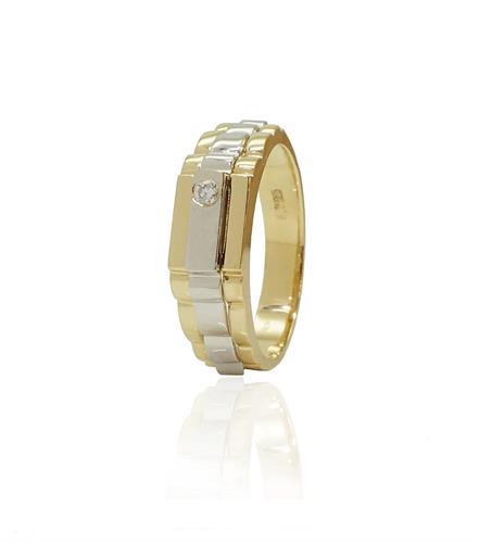 טבעת זהב לגבר עם יהלום 8 נקודות
