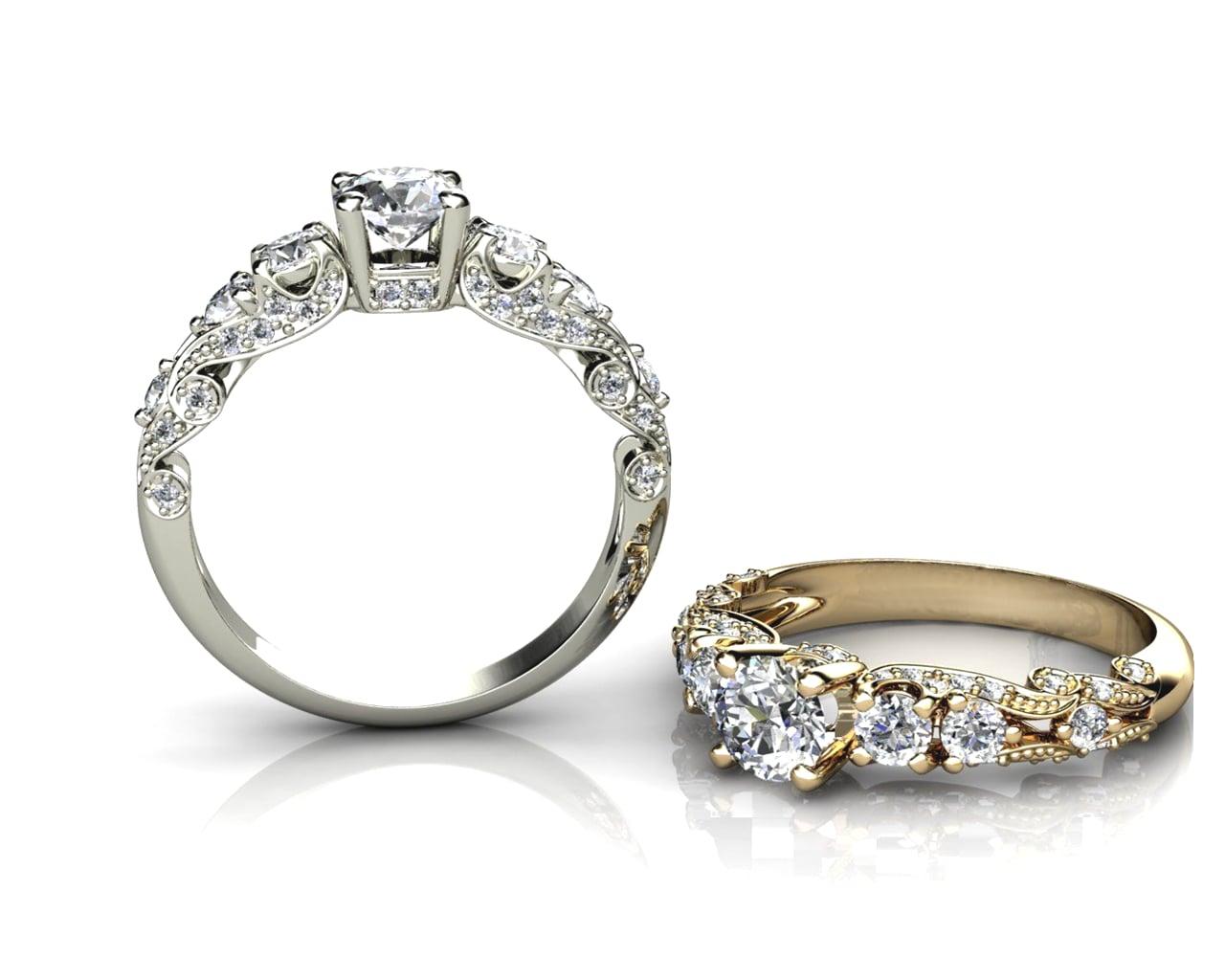 טבעת אירוסין גלי אוקיינוס עשירה ונוצצת משובצת יהלומים בזהב 14 קאראט