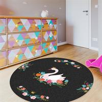 """שטיח פי וי סי לחדר ילדים """"ברבור פרחוני""""  שטיח פי וי סי   שטיח PVC   שטיחי פי וי סי מעוצבים"""