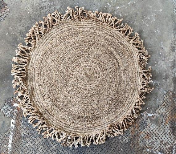 שטיח מחצלת יוטה  - עגול עם צמות (גדול)