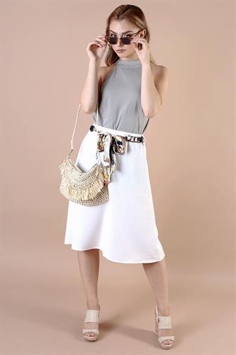 חצאית מידי ערב קיילי לבן/שחור