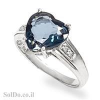 טבעת מכסף משובצת אבן טופז כחולה בצורת לב RG5978 | תכשיטי כסף 925 | טבעות כסף