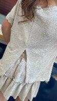 חליפת חצאית פשתן ורוד/אבן/לבן/שחור (2-16)