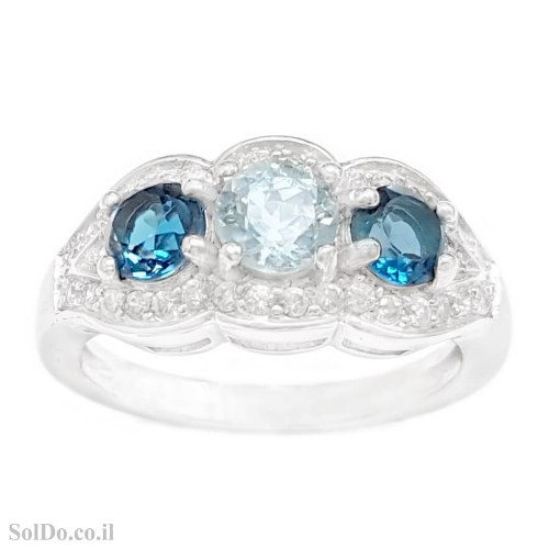 טבעת מכסף משובצת אבני טופז כחולה וזרקונים RG6215 | תכשיטי כסף 925 | טבעות כסף