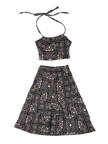 חליפת חצאית וטופ קשירה בנדנה שחור VIEW