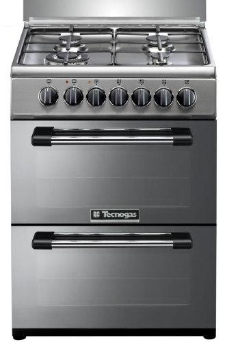 """תנור בישול ואפייה משולב דו תאי הילכתי גז 60 ס""""מ טכנוגז נירוסטה TECNOGAS P3X66EE4VEIS"""